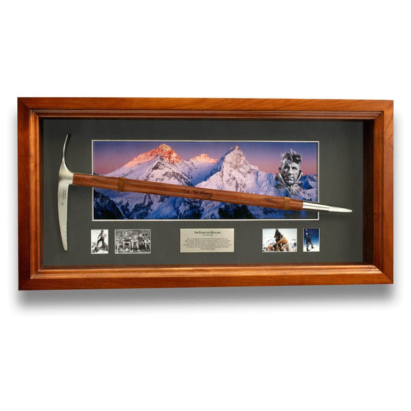 Sir Edmund Hillary Ice Axe Shadow Box - Signed Memorabilia