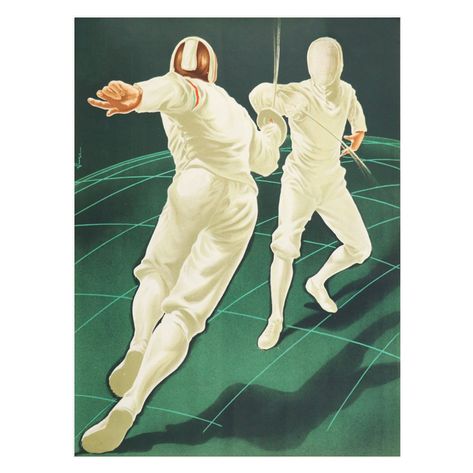 Vintage 1954 Olympic Fencing Poster