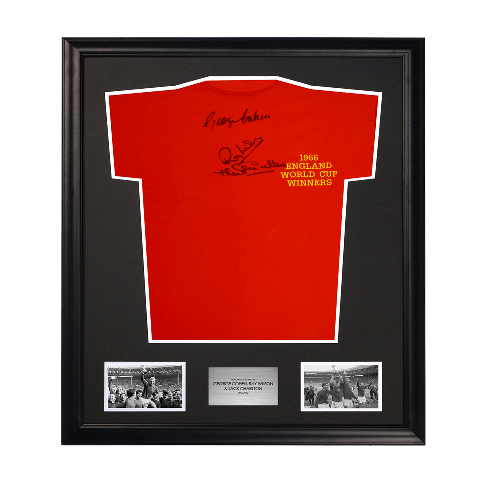 1966 World Cup Signed George Cohen, Ray Wilson & Jack Charlton Soccer Jersey