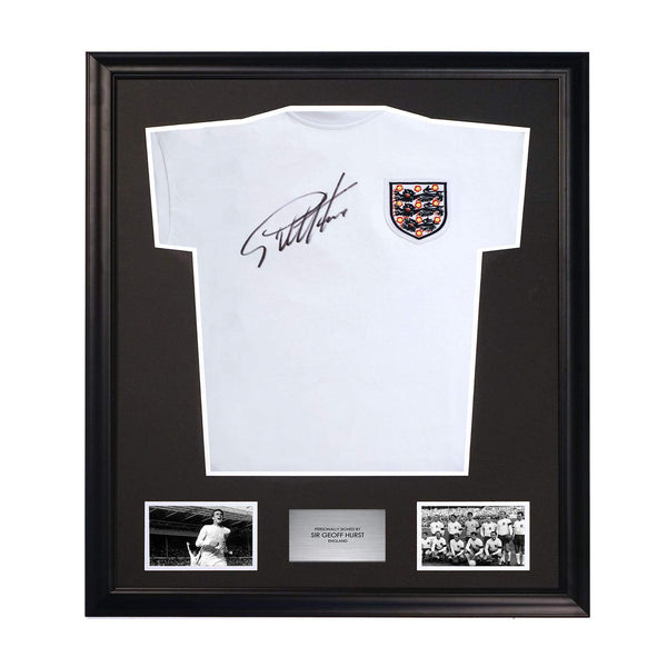 Sir Geoff Hurst 1966 World Cup Home Soccer Jersey Signed and Framed
