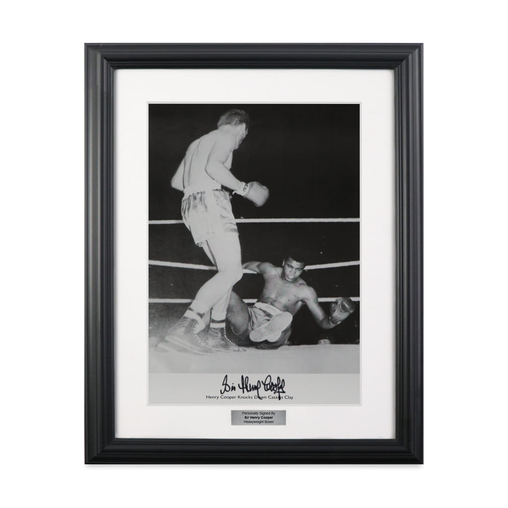 Sir Henry Cooper Knocking Down Muhammad Ali (Cassius Clay) Vintage Framed Boxing Photograph