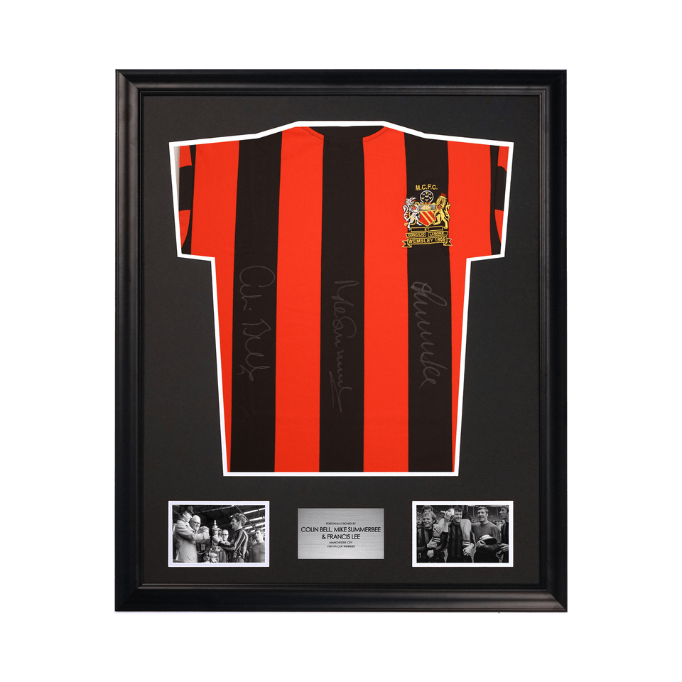 Manchester City Bell, Summerbee, Lee Signed 1969 FA Cup Jersey