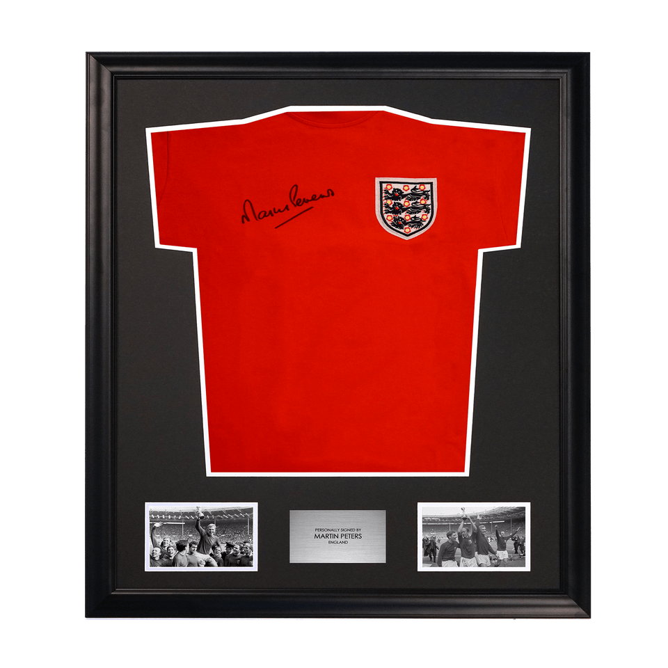 1966 World Cup Martin Peters Signed Soccer Jersey Framed