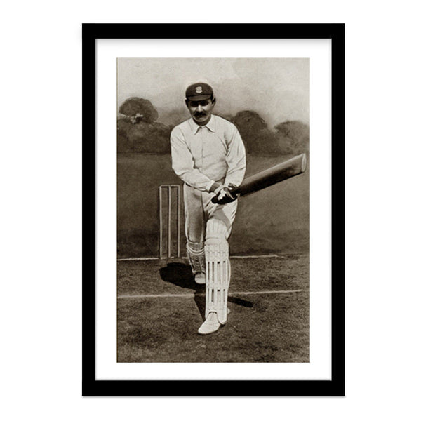Vintage Framed Photo Ranjitsinhji Vibhaji Cricket