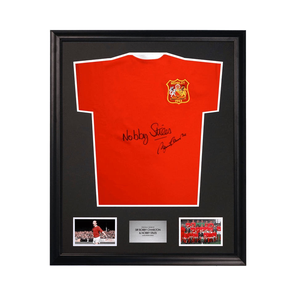 Manchester United 1963 FA Cup Soccer Nobby Stiles and Sir Bobby Charlton Signed Jersey