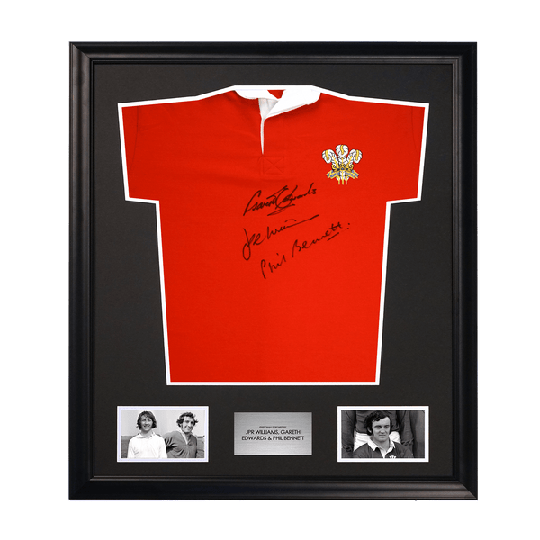 Wales Rugby Shirt Signed by Legends JPR Williams, Gareth Edwards & Phil Bennet