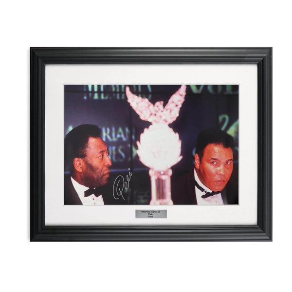 Pele hand signed photo - Pele with Muhammad Ali