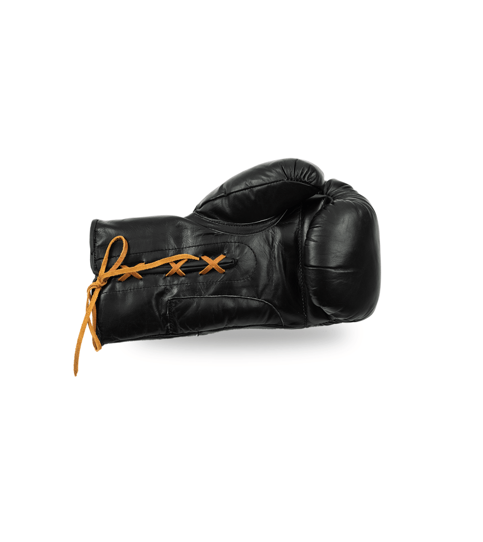 Vintage Leather Boxing Gloves - Black Lace-Up