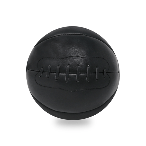 Vintage Leather Medicine Ball - 12lb  Black