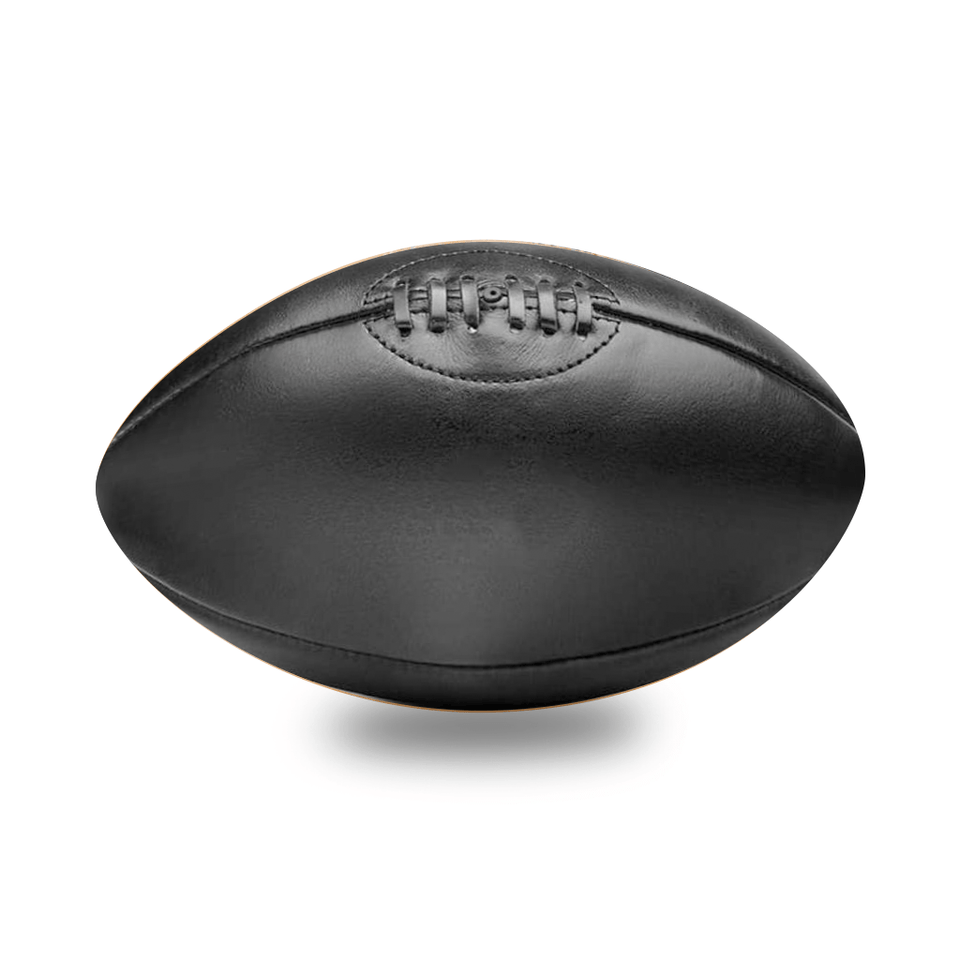 Black Vintage Leather Rugby Ball