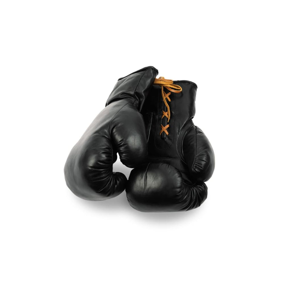 Boxing Gloves Lace Up- Black Leather - Equipment
