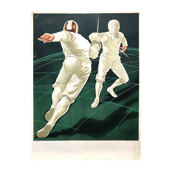 Original 1955 Junior Fencing World Championships lithograph by Denes Vincze