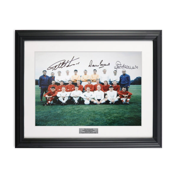 1966 World Cup England Soccer Team Photo Signed by Sir Geoff Hurst, Martin Peters, and Jimmy Greaves