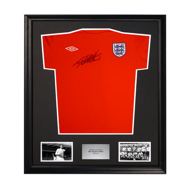 Sir Geoff Hurst 1966 England World Cup Umbro Signed Soccer Jersey Framed