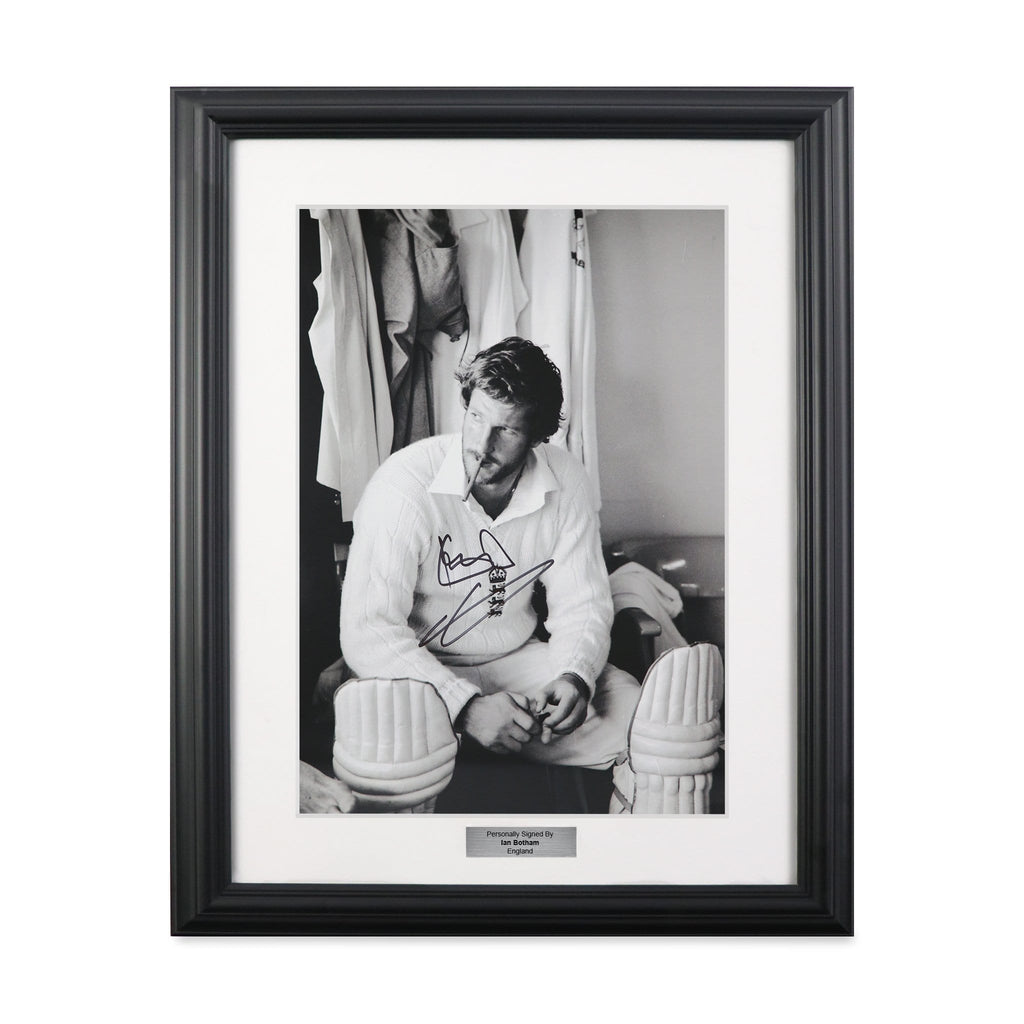 Sir Ian Botham Signed Cricket Vintage Framed Photo