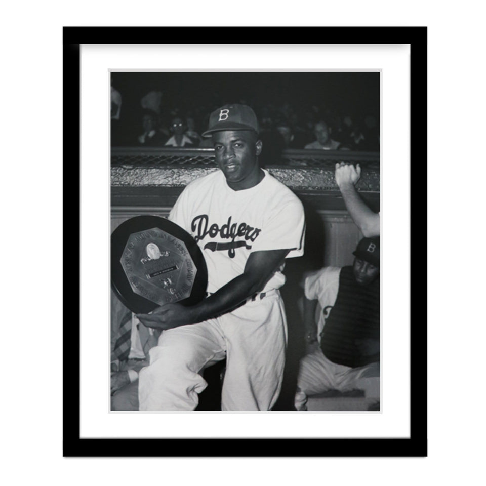 Jackie Robinson Winning MVP of the National League Framed Photo