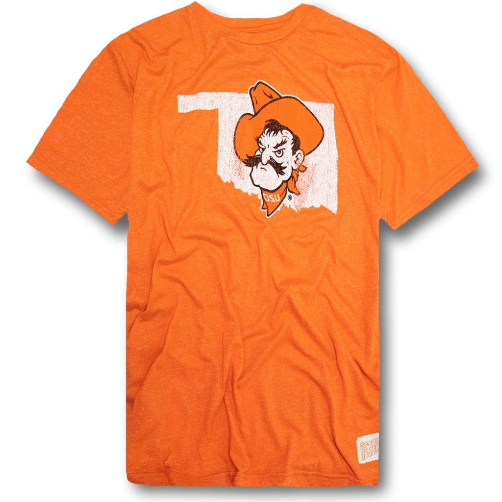 Throwback Oklahoma State Cowboys T Shirt Soft Feel Machine