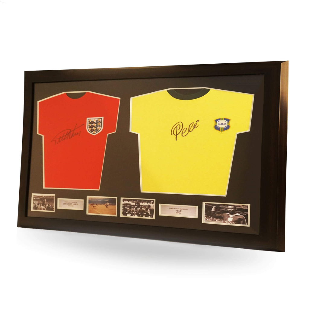 Sir Geoff Hurst and Pele Signed England and Brazil Shirts