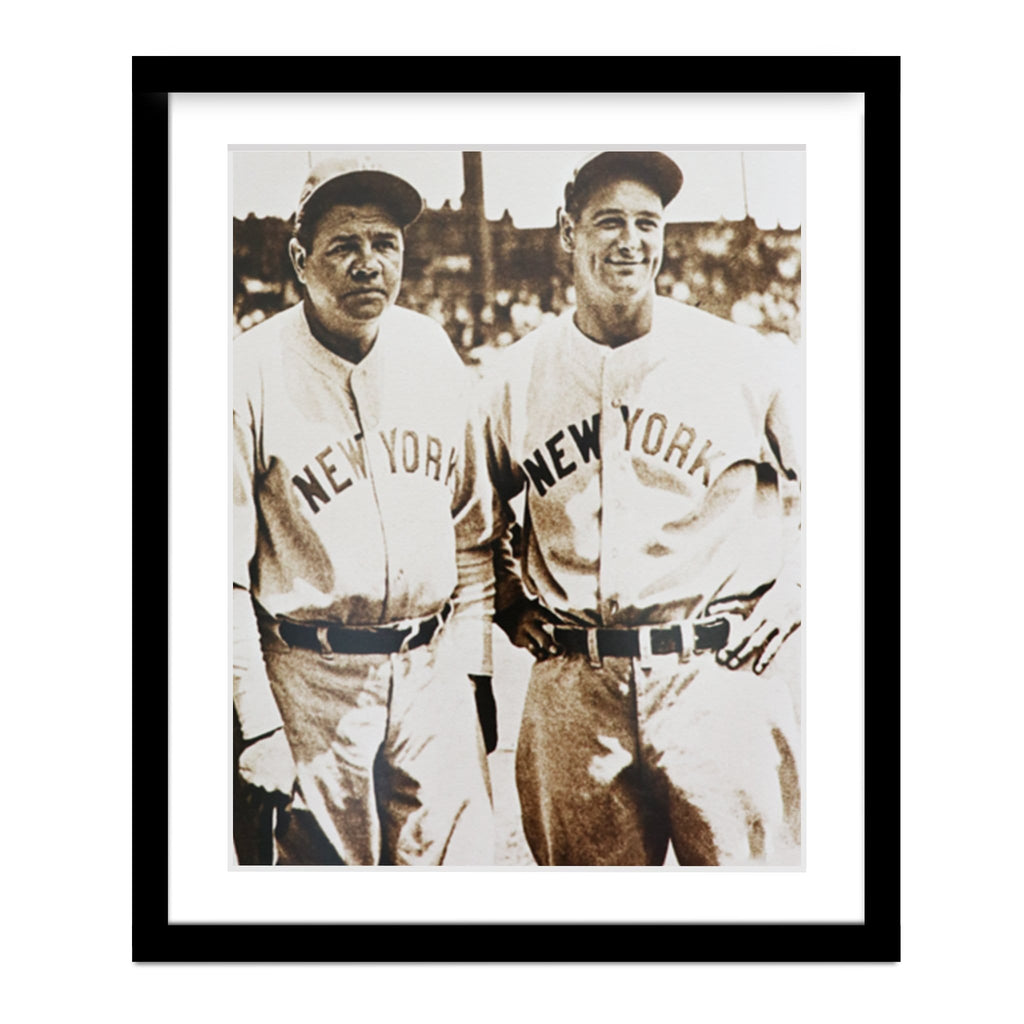 Babe Ruth and Lou Gehrig Vintage Framed Photo