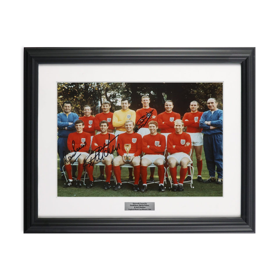 England 1966 World Cup Champions Soccer Team Picture Signed by Sir Geoff Hurst, Martin Peters, and Jimmy Greaves