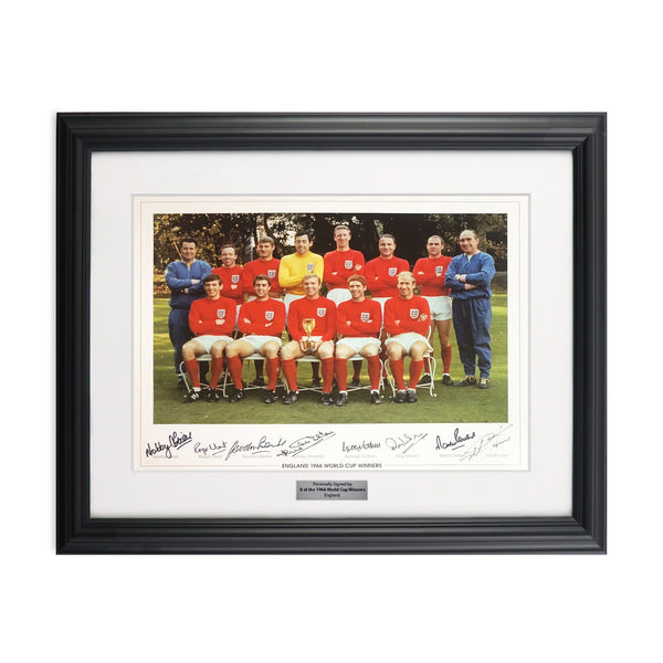 England 1966 World Cup Soccer Team Picture Signed by 8 Players Framed