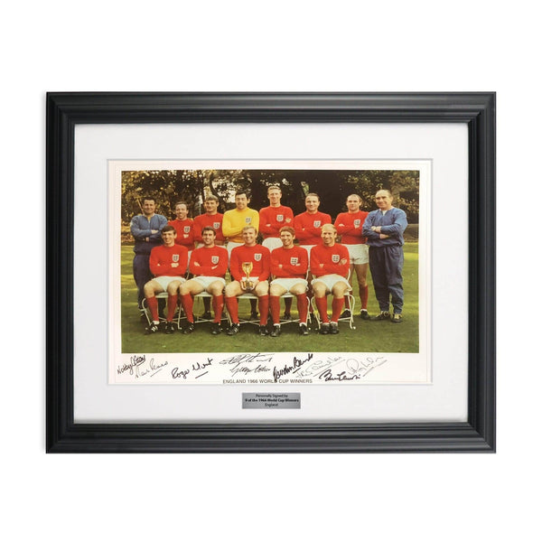 1966 World Cup Winners Print Signed By 9 Of The 1966 Heroes