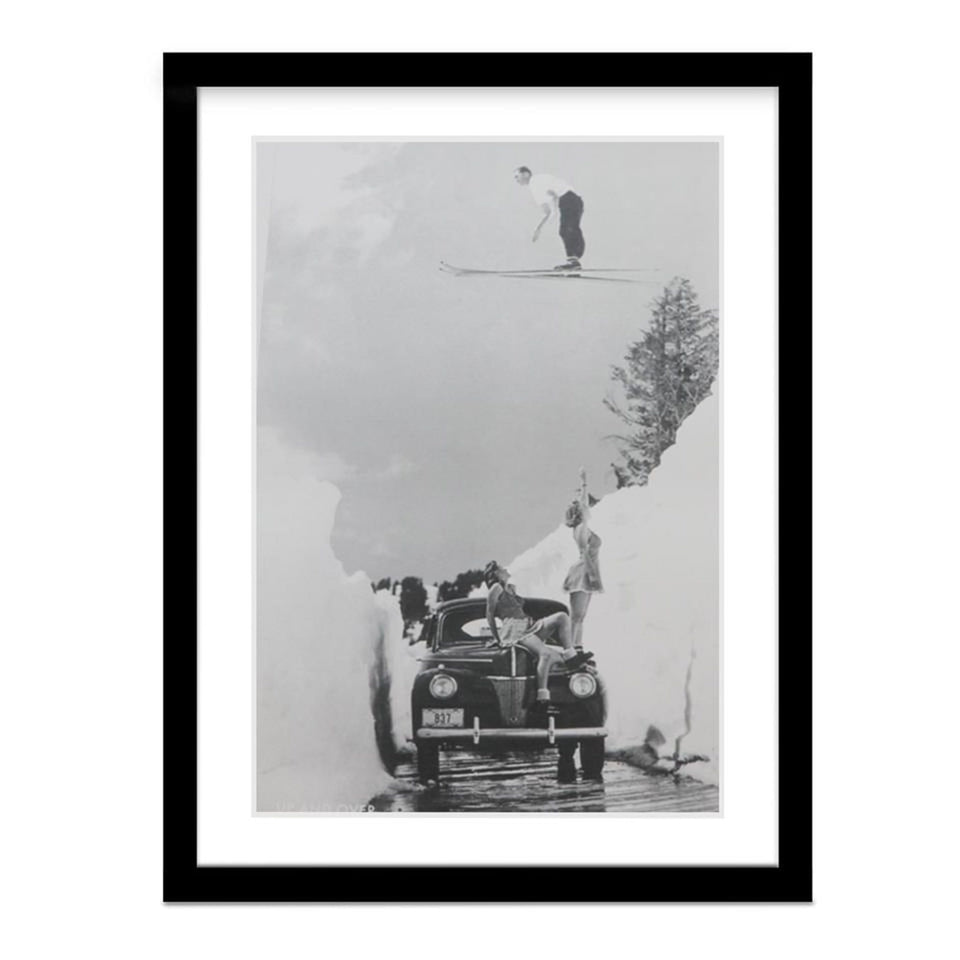 Vintage Ski Jump Picture Over Road Framed Picture