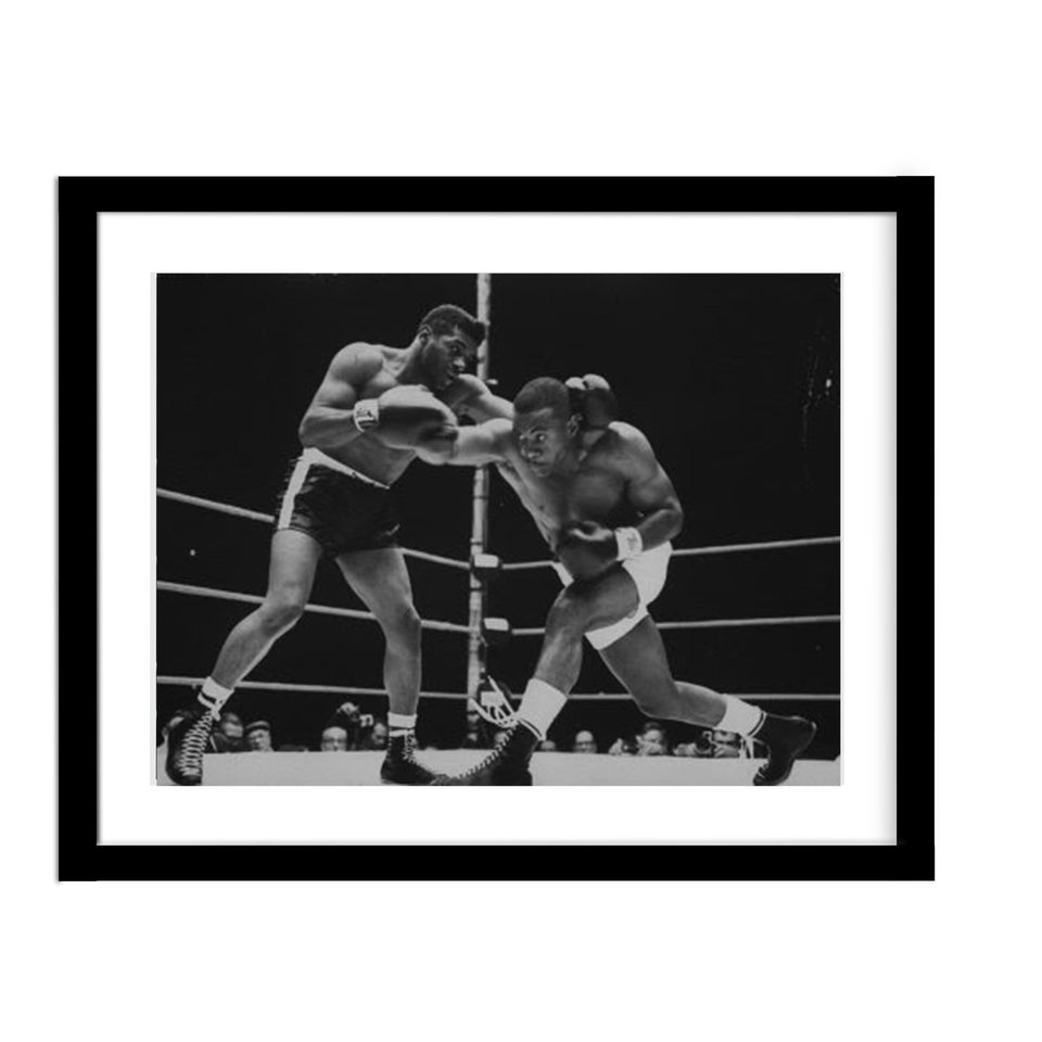 Sonny Liston and Floyd Patterson Boxing Vintage Framed Photograph