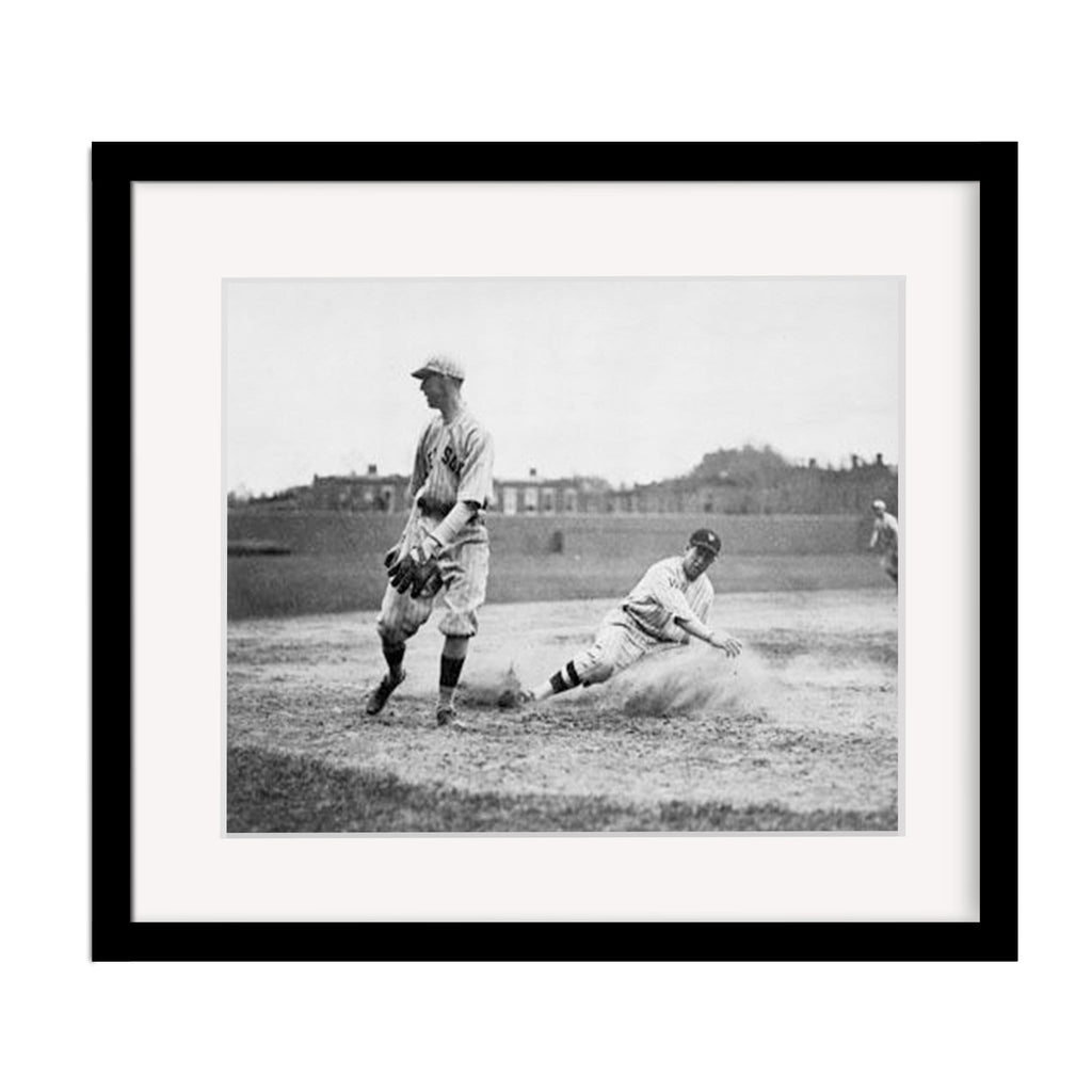 Vintage Baseball Slide Framed Photograph