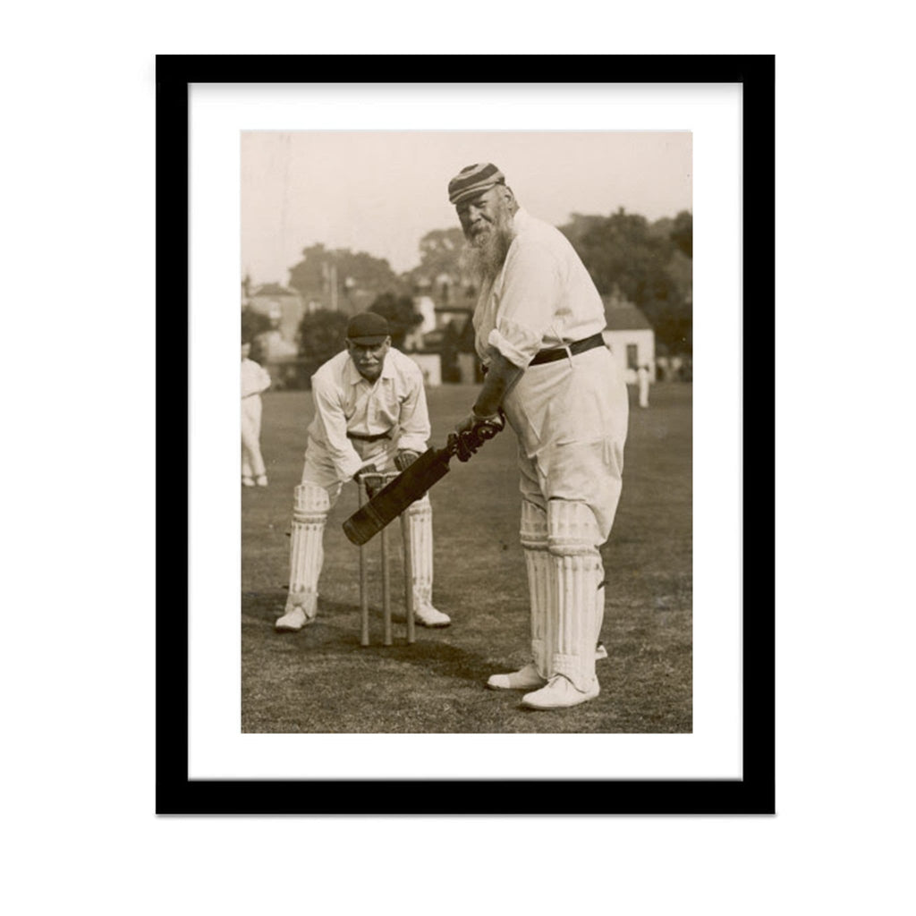 W.G. Grace at the Wickets Vintage Cricket Framed Photo