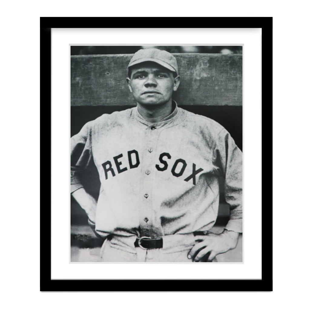 Babe Ruth Vintage Red Sox Baseball Portrait Framed