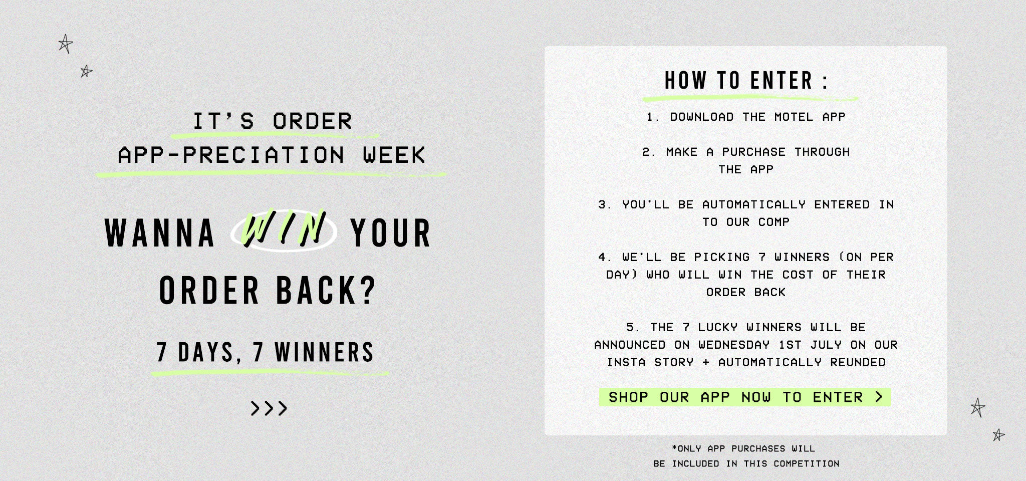 WIN YOUR ORDER BACK