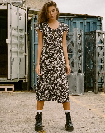 Ellery Dress in Ditsy Rose Black by Motel