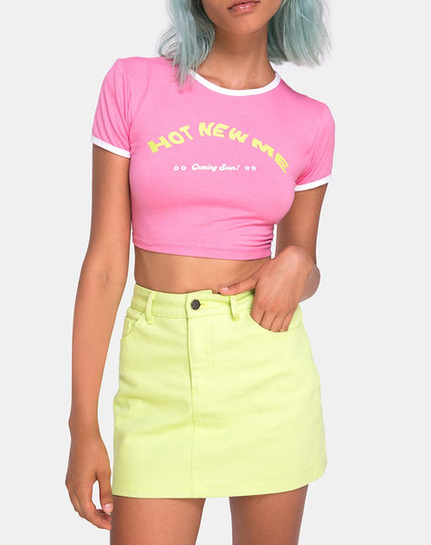 Mandita Crop Top in Bright Pink with Hot New Me Text by Motel X Top Girl