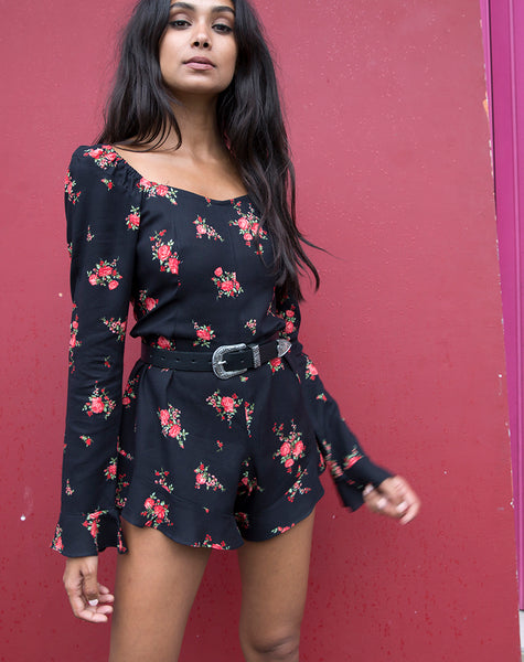 Berlo Longsleeve Playsuit in Soi Rose Black and Red by Motel