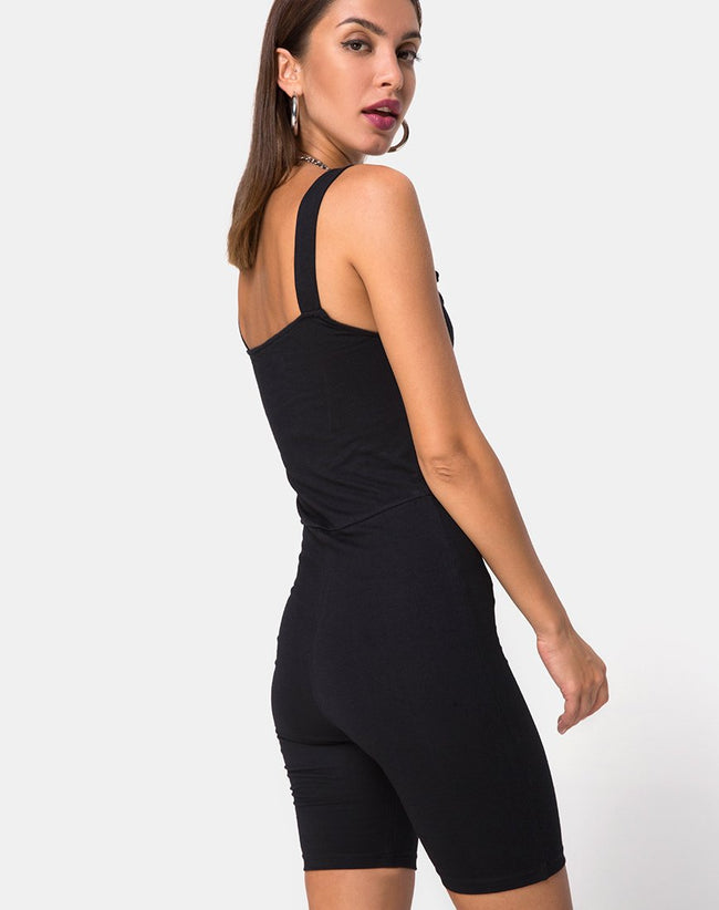 Acrety Unitard in Black Buckles by Motel