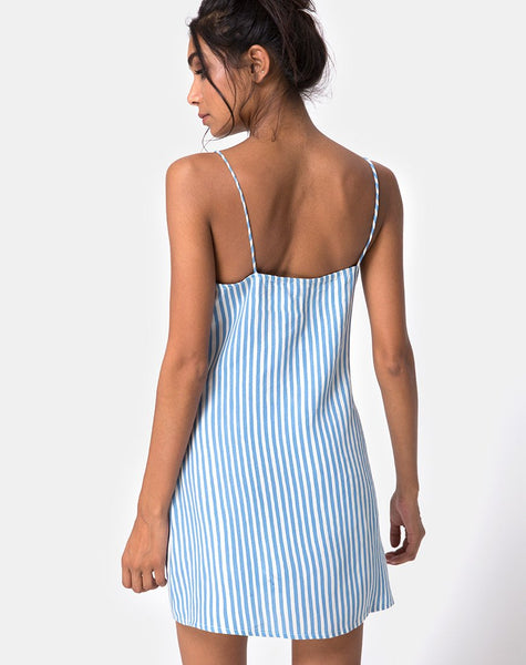 Auvaly Slip Dress in Basic Stripe Blue and White by Motel