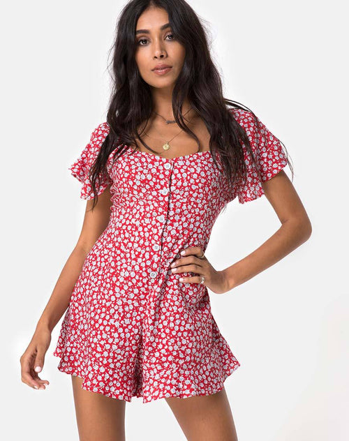 Bae Playsuit in Ditsy Rose Red and Silver by Motel