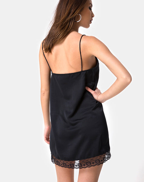 Balace Slip Dress in Black Satin with Black Lace by Motel