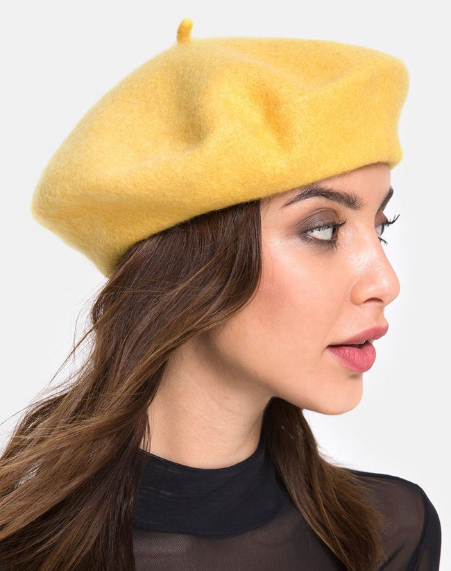 Wool Beret in Mustard By Motel