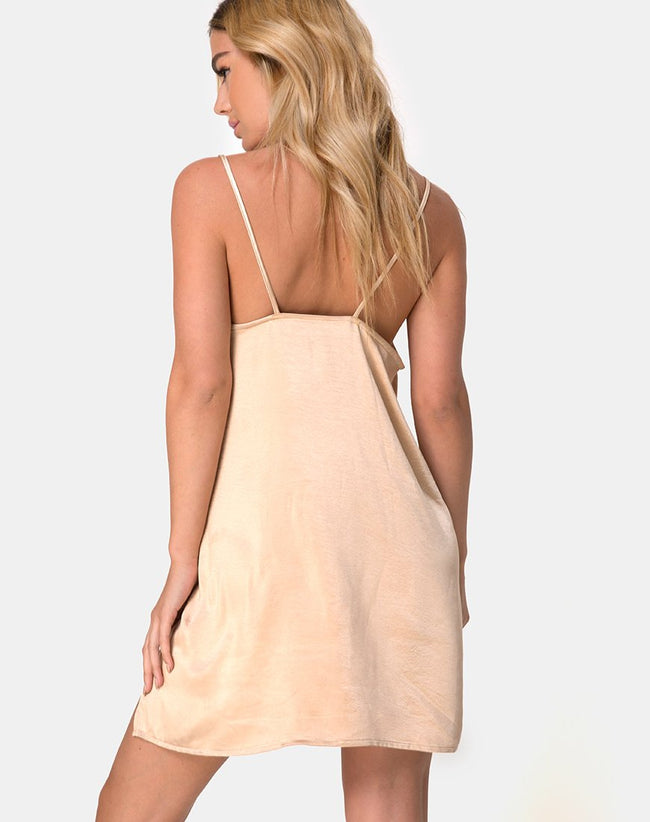 Batista Slip Dress in Satin Gold by Motel