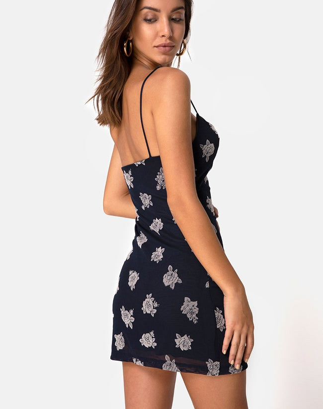 Becky Dress in Black Flock Rose by Motel