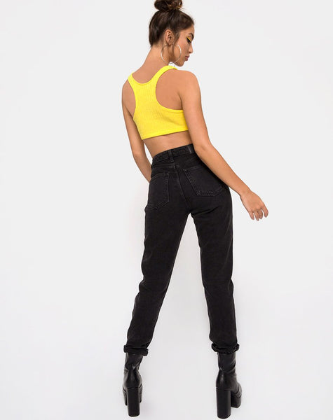 Berries Crop Top in Rib Knit Yellow by Motel