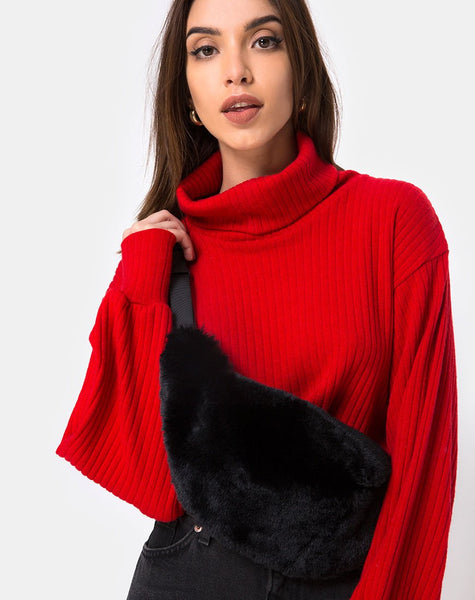 Bumbag in Fur Black By Motel