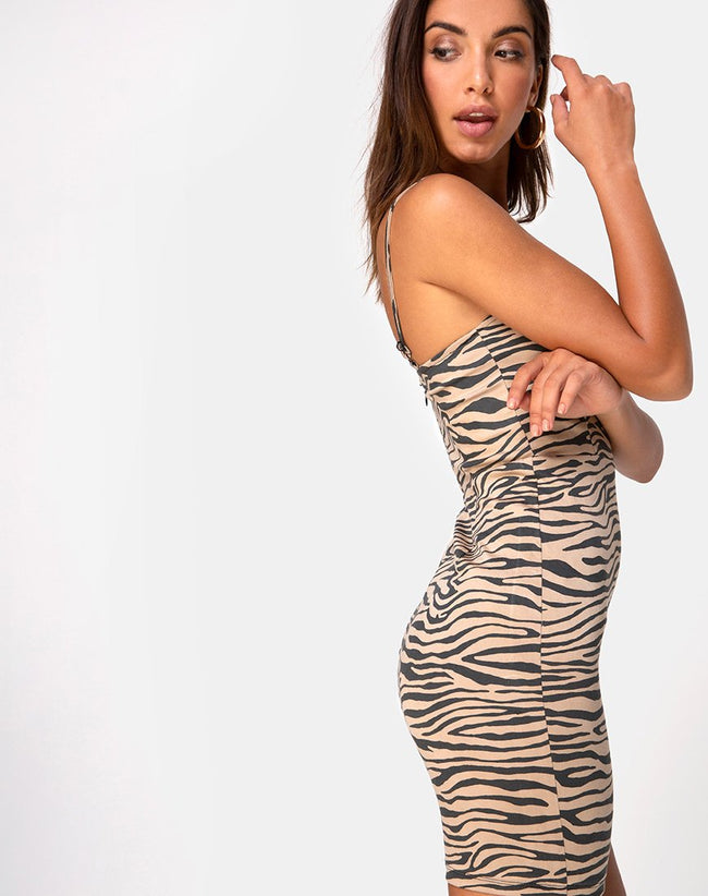Boco Bodycon Dress in 90's Zebra Taupe by Motel