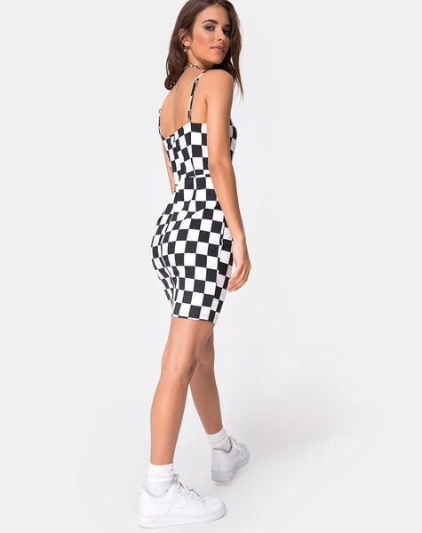Boco Dress in Check Board Medium B/W By Motel