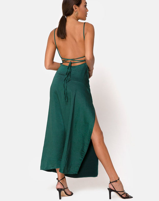 Bonita Midi Dress in Satin Forest Green by Motel