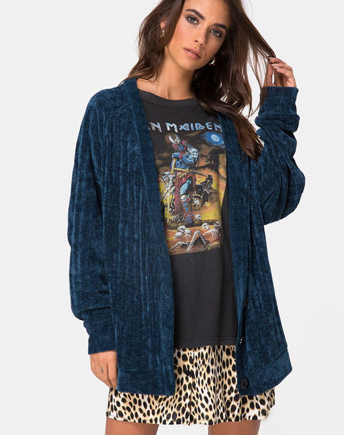 Boyfriend Cardigan in Chenille Blue by Motel