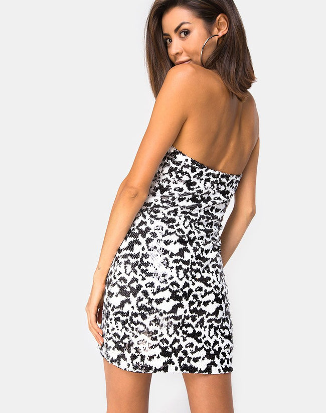 Brandy Bodycon Dress in White Leopard Sequin by Motel