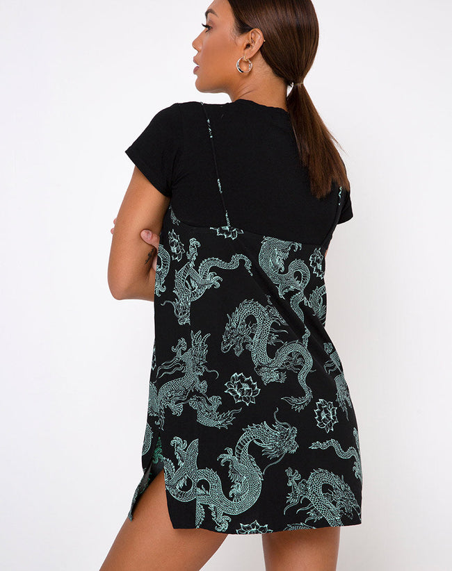 Tista Dress in Dragon Flower Black and Mint by Motel